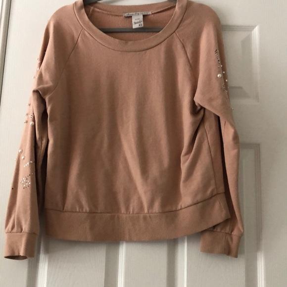 American Rag Tops - A Tan embellished sweater